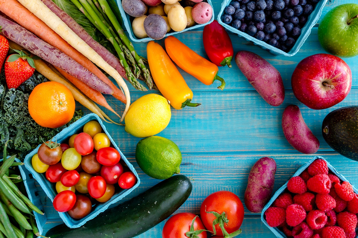 Colorful veggies and fruits for your diet