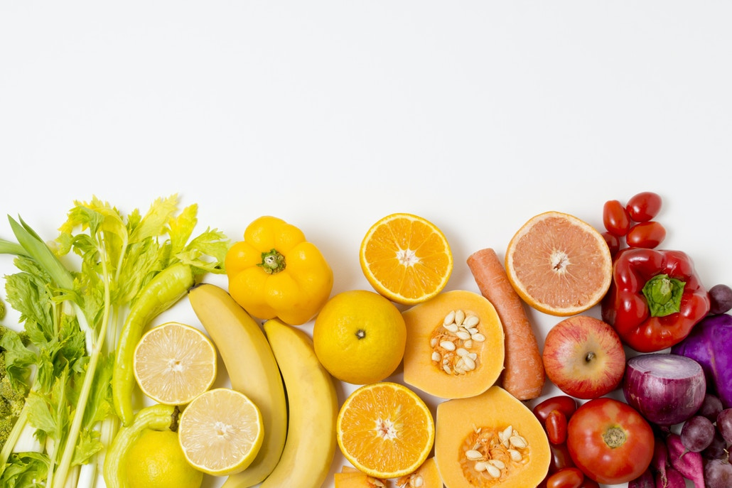 Variety of types and colors of fruits and vegetables