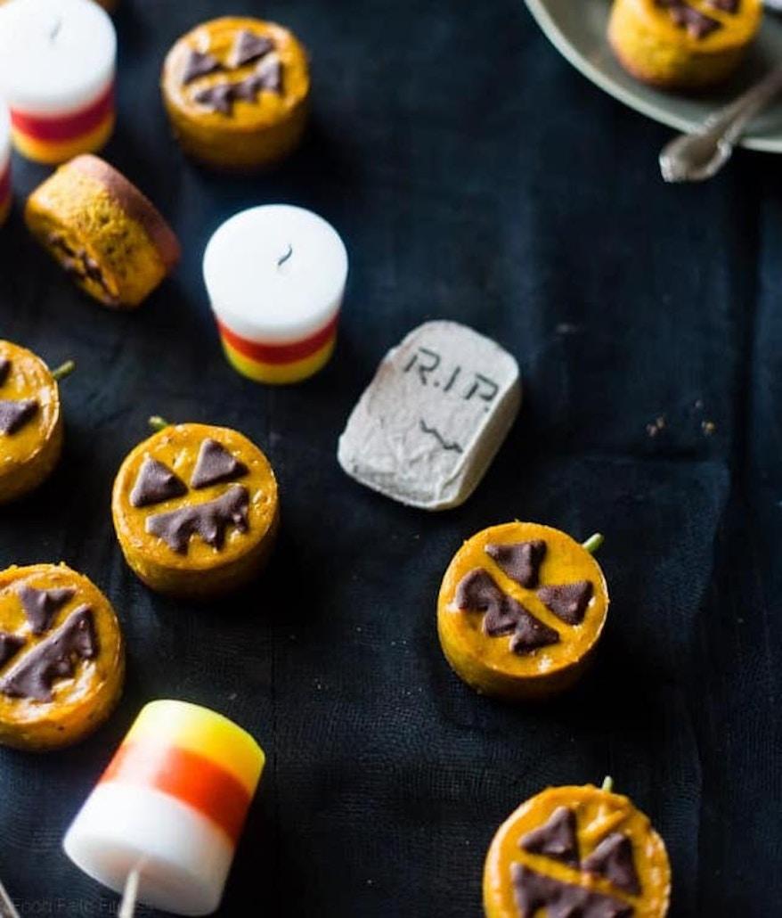 Mini Pumpkin Vegan Cheesecake Jack-O-Lanterns